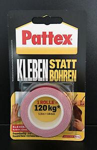 (4,45€/m)Pattex Kleben statt Bohren Montage - Klebeband doppelseitig,1,5m x 19mm