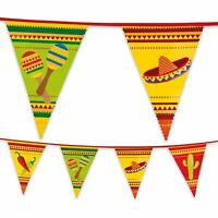 6m Plastic Mexican Fiesta Bunting Garland Pennant Flag Banner Party Decoration