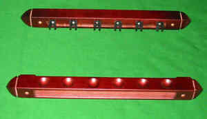 Snooker Pool Cue Rack - 6 Cues Wooden Wall Mounted 2 Piece Extension Holder Rest