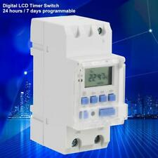 AC220V Programmable Timer Switches Digital LCD Time Switches 35mm DIN Rail Relay
