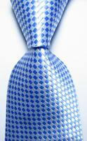 New Classic Checks Light Blue White JACQUARD WOVEN 100% Silk Men's Tie Necktie