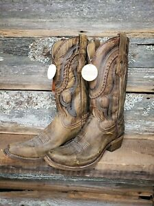 Men's CORRAL Jeb Cowhide Western Square Toe Leather Cowboy Boots. A3479. NIB.9.5