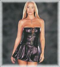 Leder-Look Mini-Kleid trägerlos in Korsett Form schwarz