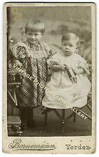 Antique CDV Photo Children Kids With Doll Bornemann Studio Verden Germany