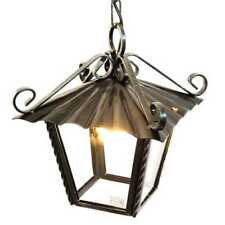 Lanterna grande lampadario da esterno interno in ferro battuto e catena 30 x 30