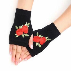 Rhinestone Embroidered Half Finger Gloves Women Cute Warmer Fingerless Mittens
