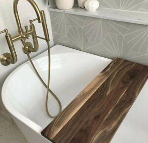 Bath Caddy in Walnut, Modern Bathtub Tray, Natural Bathtub Caddy, Rustic Home De