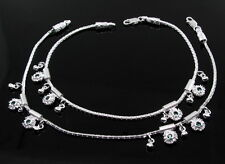 """Precious Green Cz 925 Sterling Silver Anklets Ankle Bracelet Chain Pair 10.9"""""""