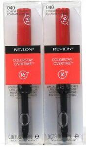 2 Revlon 0.07 Oz Colorstay Overtime 040 Forever Scarlet 16 Hr Lipcolor & Topcoat
