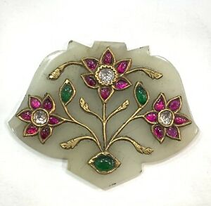 MUGHAL STYLE JADE PENDENT STUD WITH DIAMOND AND PRECIOUS GEMS 24 Kt REAL GOLD