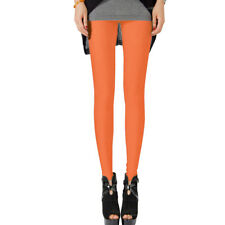 Women Girls Neon Bright Fluorescent Glow Stretch Leggings Pants Candy Color New