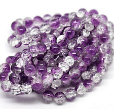35 Crackle Glass Beads 6mm - Purple Amethyst and Clear Tones Bd304