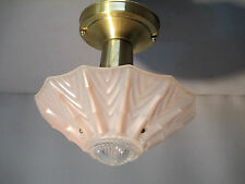 Vintage Antique Art Deco Semi Flush Mount Ceiling Light Chandelier Pink Bamboo