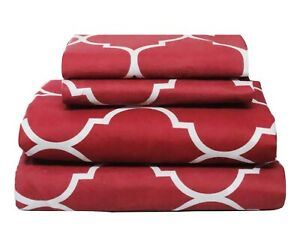 Beautiful Bedding Super Soft Comfort Floral 6 pcs Sheet Set Red Moroccan Tile
