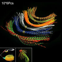 5 Bundle Fishing Rubber Jig Skirts Mixed Color 200 Strands Silicone Skirts Lures
