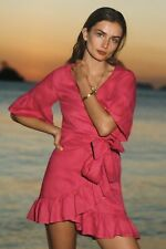 NEW Anthropologie Talulah Linen Wrap Dress by 4OUR Dreamers Pink SZ PL LARGE