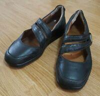 Melissa Hotter Mary Jane Black Leather Shoes Sticky Straps Fastening Size UK 6