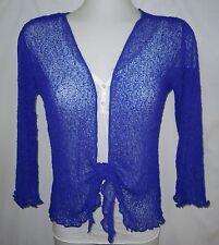 1B213 LADIES SHRUG BOLERO CARDIGAN 3/4 SLEEVE size 8 10 12 14 16 BLUE FREE POST