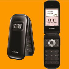 "Philips E320 Black 2MP BT FM 2.6"" QVGA Dual SIM GSM 2G Quadband Flip Cell Phone"