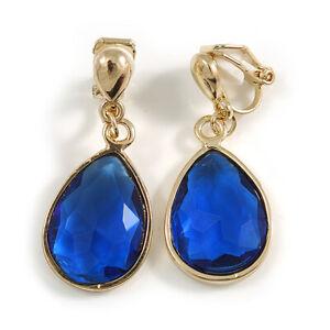 30mm Teardrop Faceted Glass Stone Clip-On Drop Earrings/Gold Tone/ Sapphire Blue