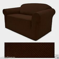 STRETCH FORM FIT - 2 Pc Slipcovers Set , Sofa + Loveseat Covers - BROWN COLOR