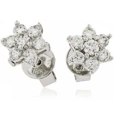 2.00ct F VS Diamond Daisy Earrings for Pierced Ears set in 18ct White Gold