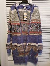 NWT American Rag Cie Size Small Indigo Open Cardigan Long Cozy Sweater Hood NEW
