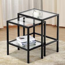2 Pcs Modern Black Metal Glass Nesting Side End Tables with Shelf (Set of 2)