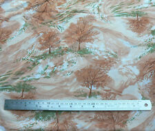 Vintage Brown Green Peach Print Trees Polyester Fabric 2.9 m x 120 cm Material