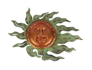 Oxidized Copper Finish Sun Face Wall Sculpture 16 Inches Long