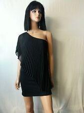 Staring @ Stars Top Tunic Mini Dress Black 1 Shoulder Asymmetric Overlay Drape M