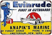 "Evinrude Outboard Motor Boating Fishing Vintage Rustic Retro Metal Sign 8"" x 12"""