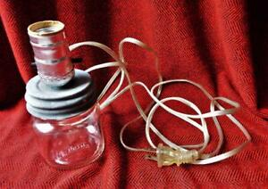 1/2 Pint Canning Mason Jar Electric Lamp Pre Wired Vintage Zinc Lid 5h5