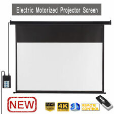 "100"" Electric Motorised Projector Screen 16:9 Projection Home Cinema 3D HD UK!"