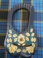 Engraved Lyre Harp 10 Metal Strings Rosewood/Lyra Harp/Harfe/Arpa Free Case& Key