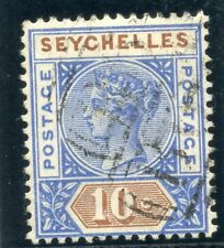 Seychelles 1890 QV 10c ultramarine & brown very fine used. SG 4. Sc 7a