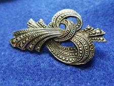 Old Estate Gun Metal Twisted Ribbon Ornate Pin Brooch