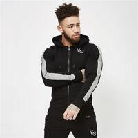 Men Zipper Hoodie Hooded Sweatshirt Coat Jacket Bodybuilding Gym Fitness Jogging