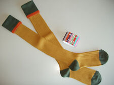 LAST PAIR Merino Wool Contrast Long Country/Shooting Breek Socks Mustard/Orange