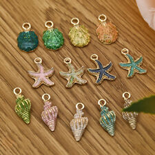 13Pcs Enamel Conch Sea Shell Pendant Charms Handmade Jewelry Making DIY Findings