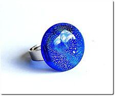 Bague ronde verre fusionné dichroïque bijou style murano fantaisie cadeau.