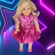 Bright Pink Sequin Party Dress for 18inch Doll (fits American Girl) #26