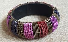 Vintage Chunky Gold Metal And Purple Pink Red Seed Bead Encrusted Bangle