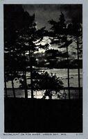 Postcard Moonlight on Fox River Green Bay Wisconsin