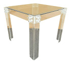 Vintage MCM LUCITE ACRYLIC Hollis Jones Style DINING GAMING GLASS TOP TABLE