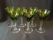 6 verres à vin en cristal.Nestor tlle Hamlet vert foncé. H:136 mm.Val St Lambert