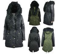 NEW Womens Faux Fur Hood PARKA Ladies JACKET winter COAT FISHTAIL Size 10-20