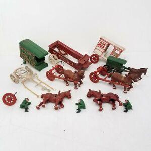 Vintage Cast Iron Horse Drawn Wagon Parts Lot