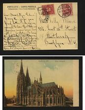 Germany  post card to  US  postage due             KL0719