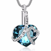 Always in my Heart Cremation Ashes Urn Necklace - White Gold Plated - UK Stock